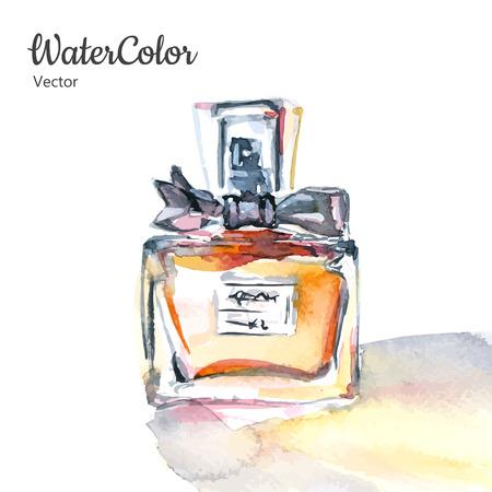 olfato: Vector ilustración mano pintura de la acuarela de la botella de perfume de cristal. Eps10