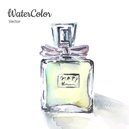 Vector hand painting watercolor illustration of glass perfume bottle. Eps10 Vectores