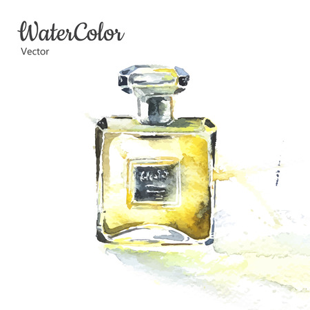 Vector hand painting watercolor illustration of glass perfume bottle. Eps10 Ilustração