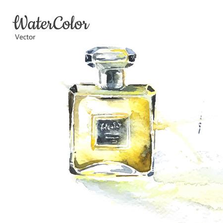 Vector ilustración mano pintura de la acuarela de la botella de perfume de cristal. Eps10