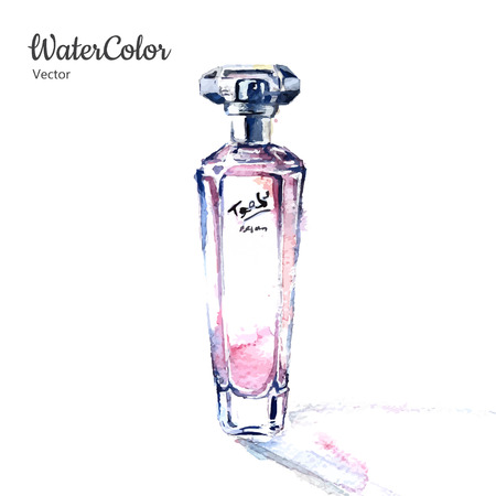 Vector mano pittura ad acquerello illustrazione della bottiglia di profumo di vetro. Eps10 Vettoriali