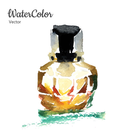 aftershave: Vector hand painting watercolor illustration of glass perfume bottle. Eps10 Illustration