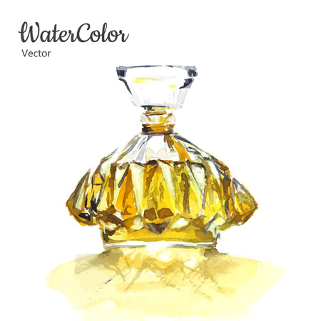 fragrance: Vector hand painting watercolor illustration of glass perfume bottle. Eps10 Illustration