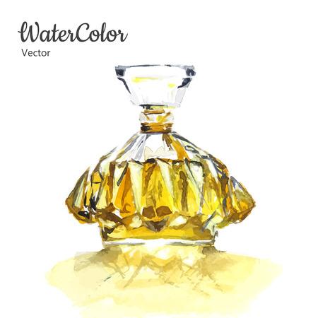 Vector hand schilderen aquarel illustratie van glazen parfumflesje. Eps10