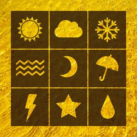 crankle: Vector flat weather icon set on blur. Sun star moon cloud snow fog rain. Eps10 Illustration