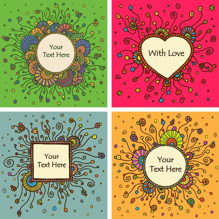 textbox: Vector set of four round retro ornament cards with textbox. Eps10