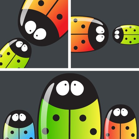 beetles: Vector set of cards with beetles. Eps10 Illustration