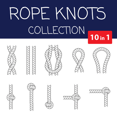 overhand: Vector rope knots collection. Overhand, figure of eight and square knot. Seamless decorative elements Illustration