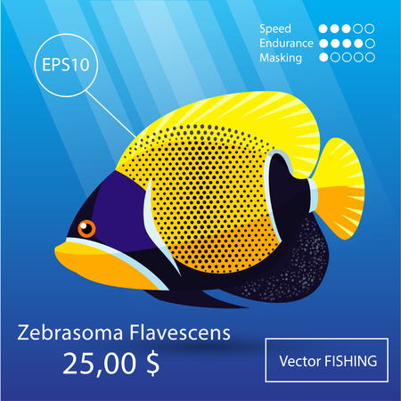 Vector flat tropical reef fish icon. Eps10 Illustration