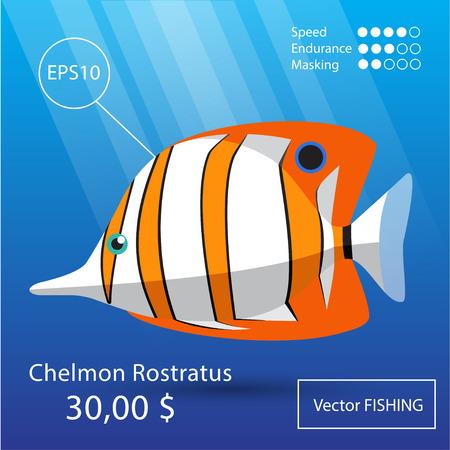 anemonefish: Vector flat tropical reef fish icon. Eps10 Illustration