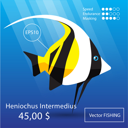 triggerfish: Vector flat tropical reef fish icon. Eps10 Illustration