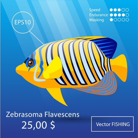 moorish idol: Vector flat tropical reef fish icon. Eps10 Illustration