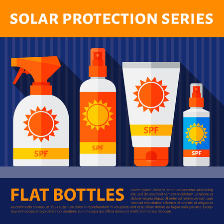 Vector set of flat bottles with solar protection. eps10