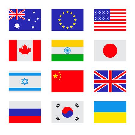 フラグ アイコンのベクトル フラット セット。国の単純なベクトル旗