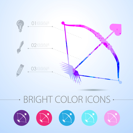 amour: Vector watercolor amour arrow icon with infographic elements