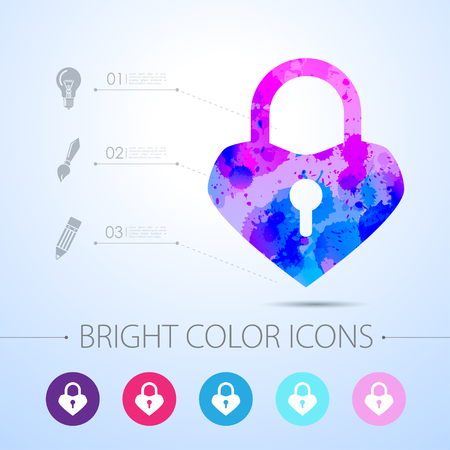 security lock: Vector watercolor lock heart icon with infographic elements Illustration