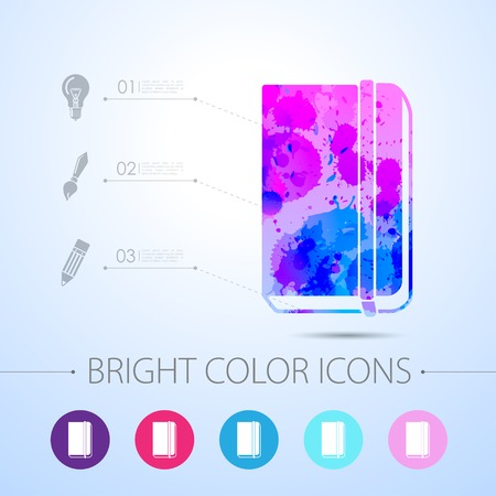 periodicals: Vector watercolor book icon with infographic elements Illustration