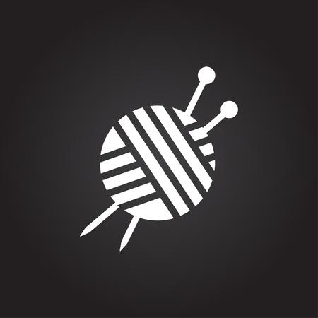 ravel: Vector flat white tailor ravel ball of yarn for knitting icon on dark background Illustration