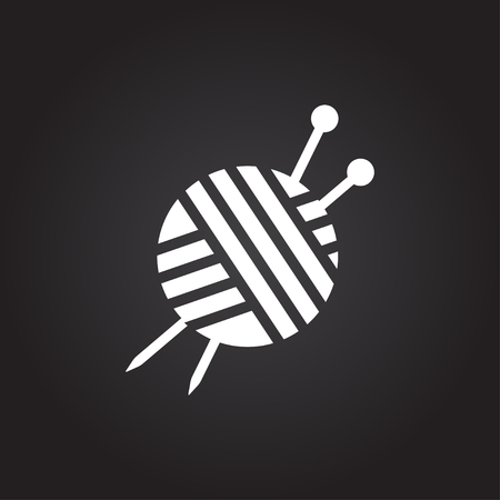 Vector flat white tailor ravel ball of yarn for knitting icon on dark background Çizim