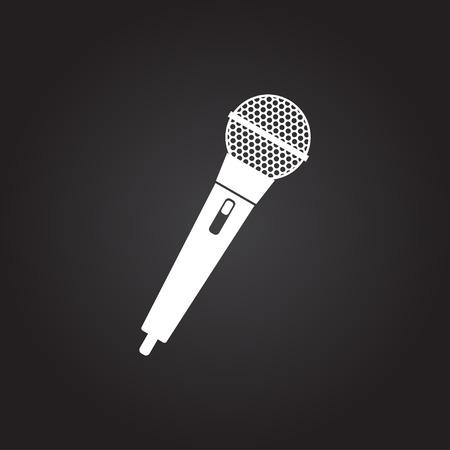 Vector flat white hand microphone icon on dark background