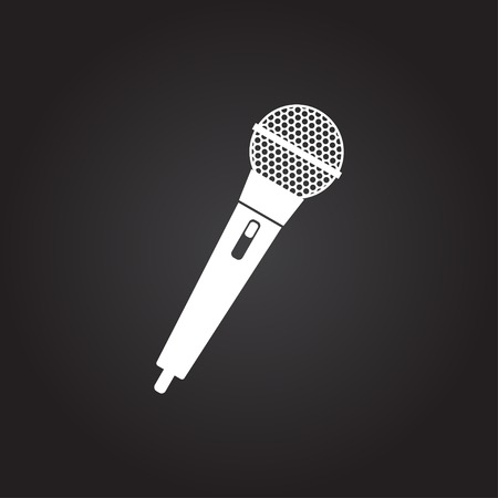 microfono antiguo: Vector plana icono de micrófono de mano blanca sobre fondo oscuro Vectores