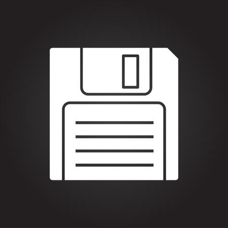 Vector flat white retro floppy disk icon on dark background