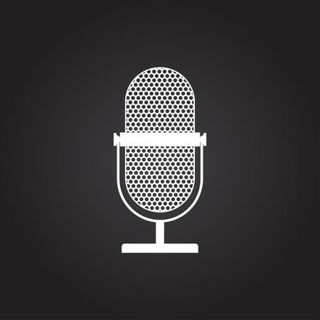 Vector flat white retro microphone icon on dark background Illustration