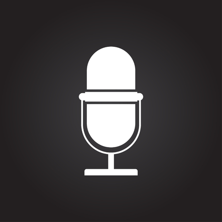 entertaining presentation: Vector flat white retro microphone icon on dark background Illustration