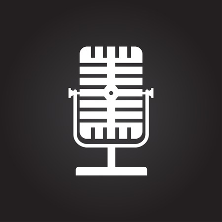 oldie: Vector flat white retro microphone icon on dark background Illustration