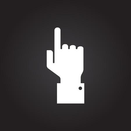 help section: Vetor flat white hand pointer icon on dark background