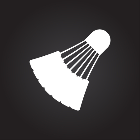 cross match: Vector flat white simple badminton icon on dark background