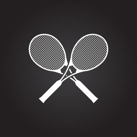 Vector flat white tennis rackets icon on dark background