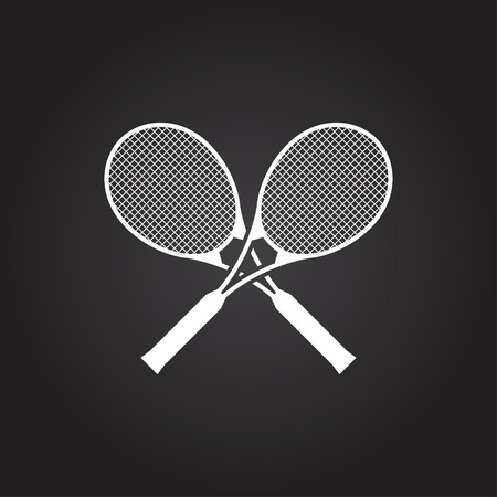 bounces: Vector flat white tennis rackets icon on dark background