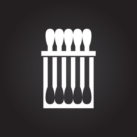 ear bud: Vector flat white cotton swabs icon on dark background