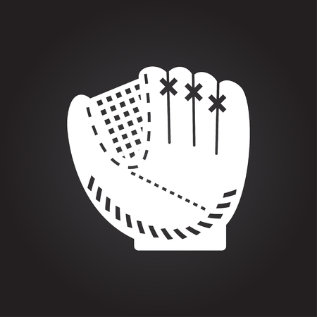 catcher's mitt: Vector flat white baseball glove icon on dark background