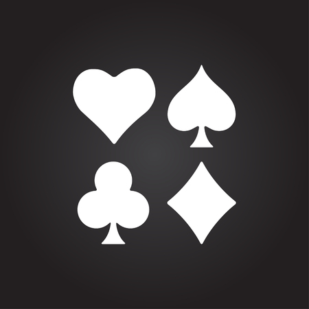 black jack: Vector flat white game casino cards suit icon on dark background