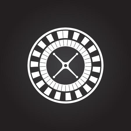 ruleta: Vector plana icono blanco rueda de la ruleta del casino en fondo oscuro