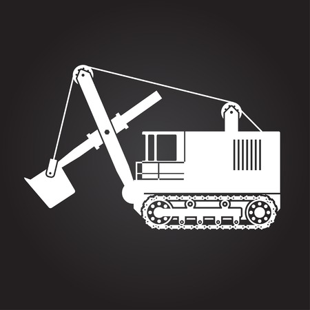 land development: Vector flat white heavy machine icon on dark background
