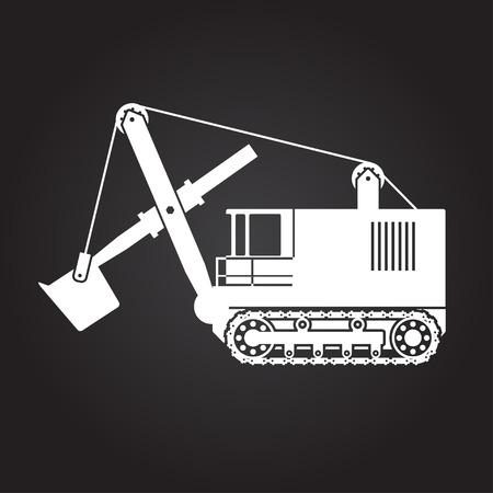 heavy: Vector flat white heavy machine icon on dark background