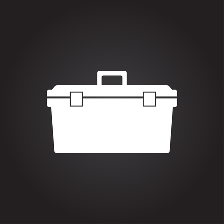 worktool: Vector flat white toolkit icon on dark background . Industrial equipment