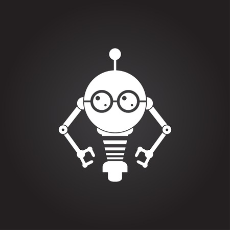 retro robot: Vector flat white retro robot toy icon on dark background Illustration