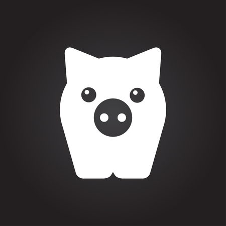 oink: Vector flat white pig icon on dark background