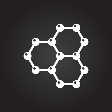 graphene: Vector flat white graphene icon on dark background . Science illustration