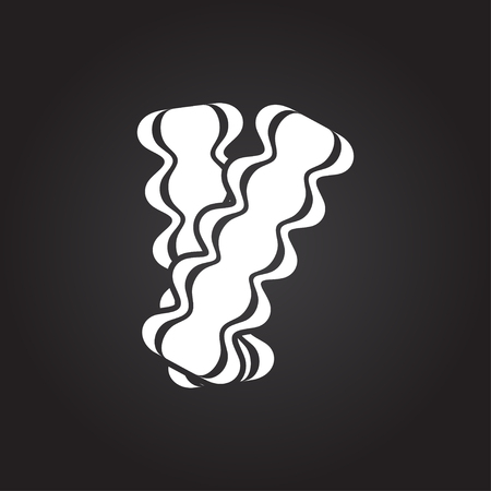 bacon strips: Vector flat white bacon icon on dark background Illustration