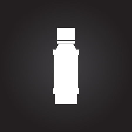 flavoring: Vector flat white flavoring bottle on dark background . Kitchen icon