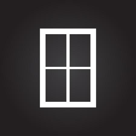 white window: Vector flat white window icon on dark background Vectores