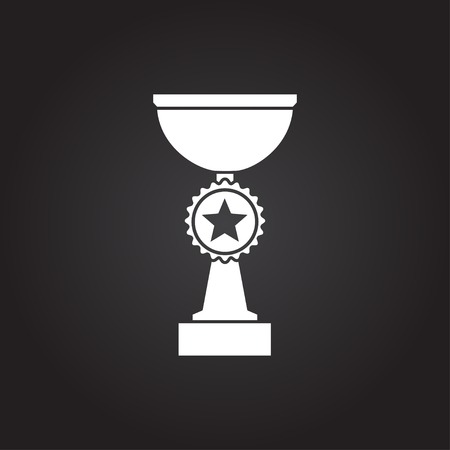 sports winner: Vector flat white trophy goblet icon on dark background . Winner award Illustration