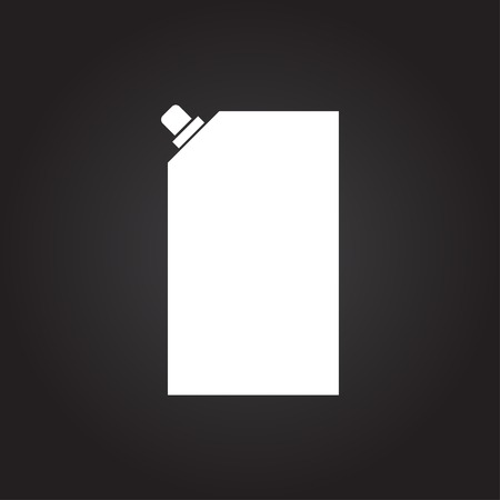 aseptic: Vector flat white mayonnaise plastic package icon on dark background Illustration