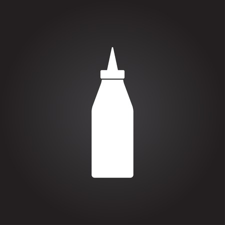 tomato catsup: Vector flat white bottle with ketchup icon on dark background