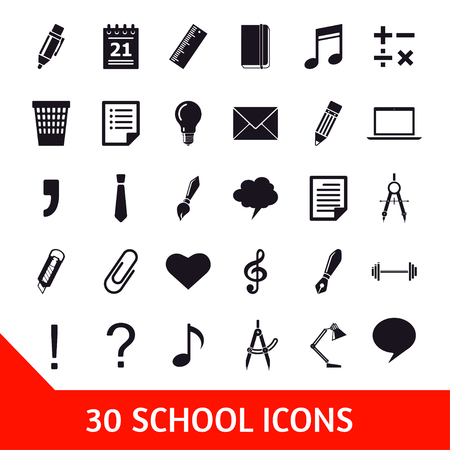 additional training: Vector set of thirty school icons. Education illustration Illustration